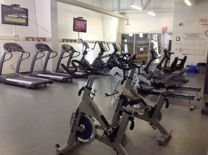 image of cardio equipment - stationary bicycles and treadmills