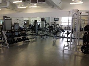 image of weights and weight benches in fitness centre