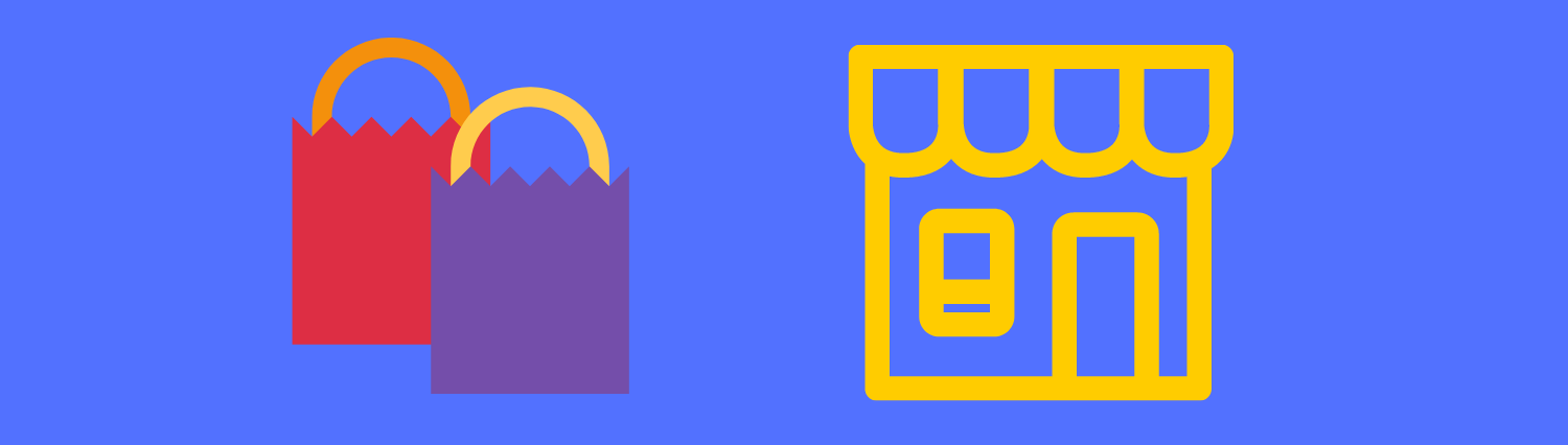 Shopping banner with image of shopping bags