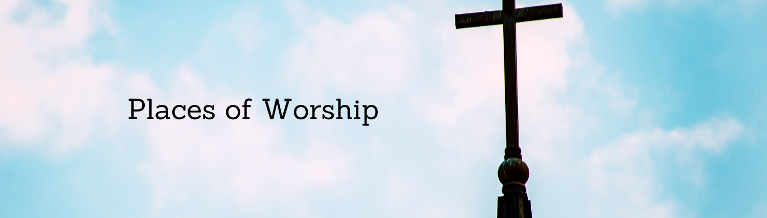 Places of Worship banner with cross and sky image
