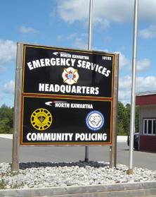 Emergency Services headquarters sign